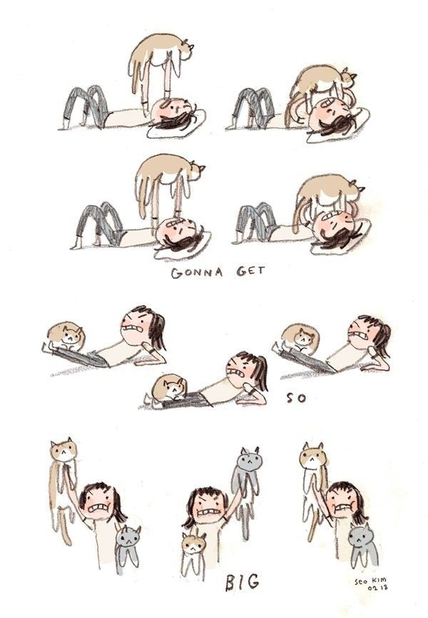 Cat lady workout by Seo Kim