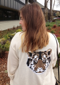 Cat lady in tiger sweater