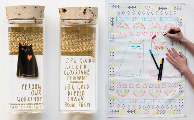 Cat Love pendant and tea towel stencil set