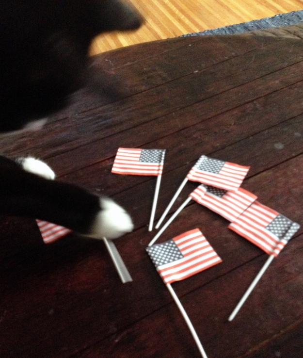 Tux playing with flags