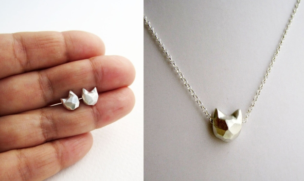 Cat earrings and necklace