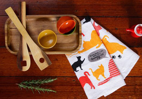 Hungry Cat Linen Tea Towel