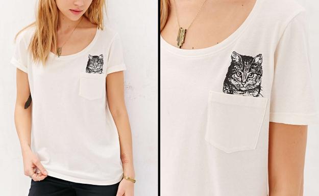 Project Social T Peeking Cat Tee - Urban Outfitters