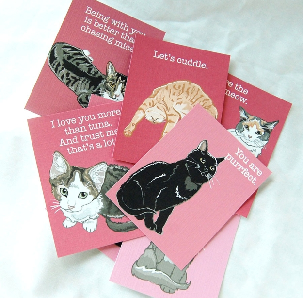 Valentine cat card set