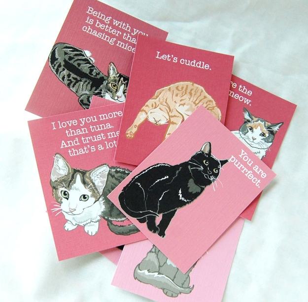 Valentine cat card set